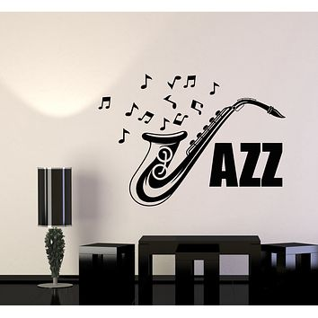 Vinyl Wall Decal Jazz Bar Music Saxophone Musical Instrument Notes Stickers Mural (g2658)