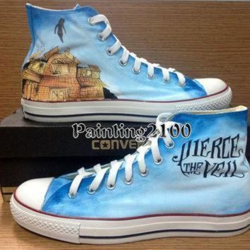 QIYIF pierce the veil shoes custom converse hand painted shoes hand paint on converse