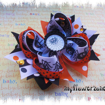 Halloween Hair bows - Spiders Hair Bows - Halloween stcaked boutique hair bows - Black and orange Hair bows -  Halloween Layered Hairbows