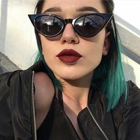 Women Fashion Personality Collocation Modeling Catwoman Retro Sunglasses Glasses