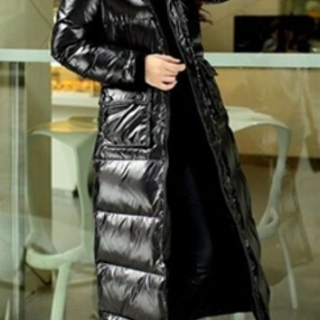 Black Long Sleeve Quilted Faux Fur Trim Hood Full Length Long Puffer Coat