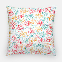 "Watercolor Throw Pillow Case - Coral Throw Pillow Cover ""Coral Branches"" Beach House Decor - Coral Reef Watercolor Pillow Case 16x16 