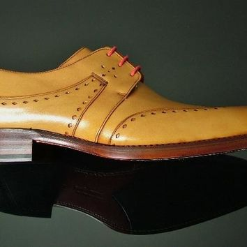 Wakeby Wolf Formal Tan Brogue Wingtip Leather Shoes