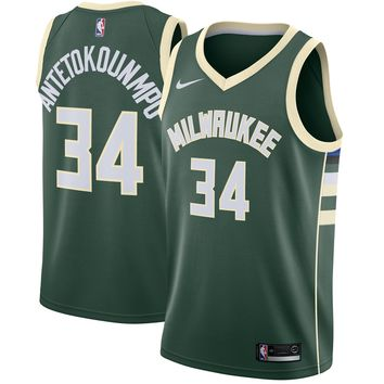 Men's Milwaukee Bucks #34 Giannis Antetokounmpo Nike Green Swingman Jersey - Icon Edition - Best Deal Online