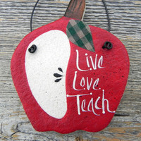 Teachers Gift Apple Salt Dough Ornament Thank You Appreciation Gift