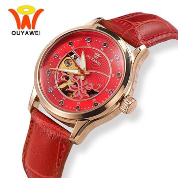 OUYAWEI Red Skeleton Dial Leather Automatic Mechanical Watch Women Luxury Rose Gold Case Wrist Watches For Fashion Ladies Girls
