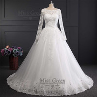 White&Ivory Wedding Dress With Long Sleeve Muslim
