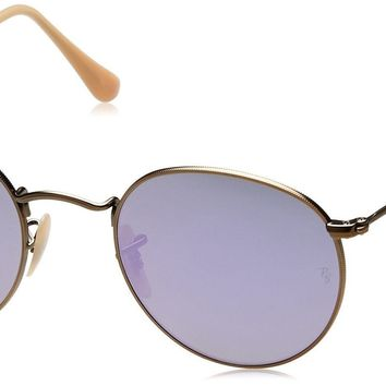 Ray-Ban ROUND METAL - DEMIGLOS BRUSCHED BRONZE Frame LILLAC MIRROR Lenses 50mm N
