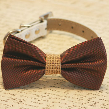 Brown and burlap Dog Bow Tie, Burlap Wedding, Country rustic wedding, Pet Accessory, Dog Lovers, Burlap Pet wedding accessory