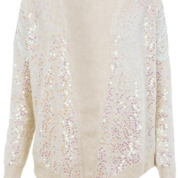 Cream Sequin Waterfall Cardi - View All  - New In