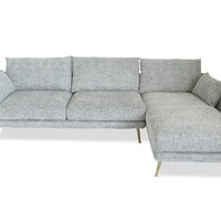 Harlow Mid-century Modern Sectional Sofa Fulton Grey - Right Facing