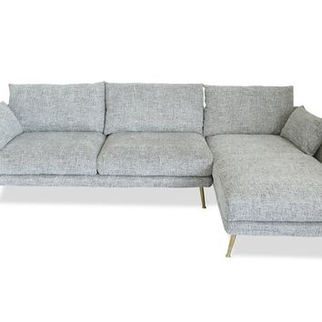 Harlow Sectional Sofa Fulton Grey, Right Facing
