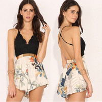 Strap Lace Floral Print Backless