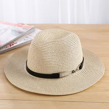 Seioum Sun Hat Summer Hats For Women Men Unisex Straw Beach Panama Hat Bucket Hat Chapeau Femme Homme Travel Vacation Seaside