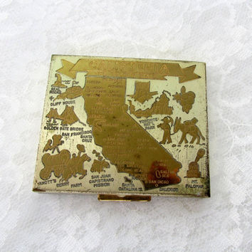 Ritz Powder Compact Made in USA California Souvenir Map Front Silver And Gold Tone Hollywood Regency Vintage Collectible Gift Item 2280
