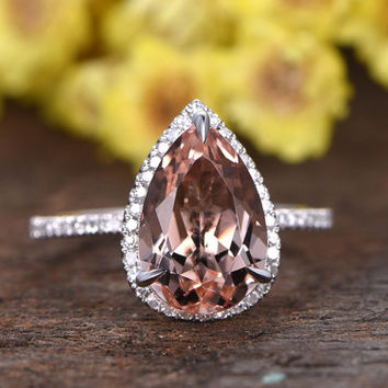 8x12mm Pear Cut natural pink morganite engagement ring,HALO diamond promise ring,solid 14K white gold,thin band,3.18ctw VS morganite ring