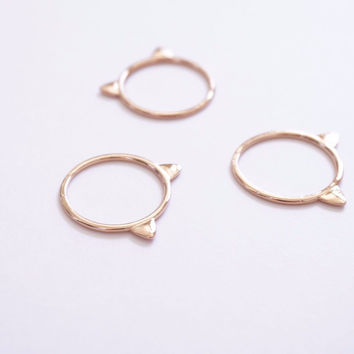 Cute Cat Lady Gold Cat Kitty Ring Jewelry, Animal Rings, Modern Cat Ring, Size 7