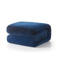 Tache Solid Embossed Cozy Night Blue Sherpa Throw Blanket (62093)