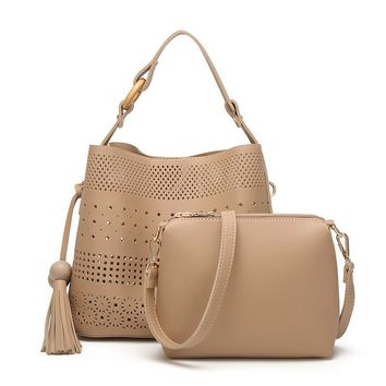 Ladies PU Leather Perforated Hollow Out Tassel Shoulder Totes Bags