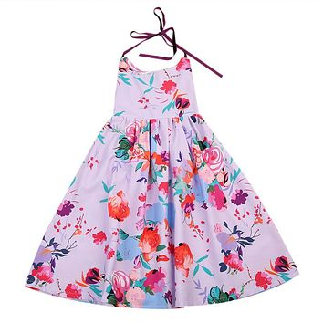 Toddler Kids Baby Girl Floral Summer Bow knot Party Dress new arrival fashion cute Sundress Clothes