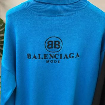 Balenciaga Autumn And Winter New Fashion Bust Embroidery Letter High Neck Long Sleeve Sweater Top Blue