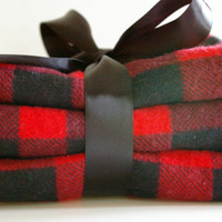 Baby burp cloths flannel red and black buffalo plaid (set of three)