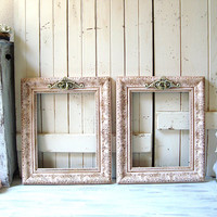 Shabby Chic Pink Ornate Picture Frames, Pair of 11 x 14 Blush Pink and Mint Frames, Nursery Frames, Wedding Frames, Baby Pink Open Frame Set