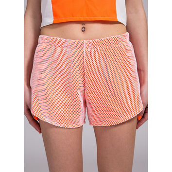 Mesh Neon Orange Shorts by No Fixed Abode