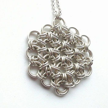 Sterling Silver Flower of Life Japanese Chainmaille Pendant, Chainmaille Jewelry, Sterling Silver Necklace, Flower of Life Pendant,