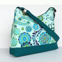 Medium Zipper Top Purse / Handbag / Hobo Bag / Valori Wells / Karavan Kashmir Peacock / Ready to Ship