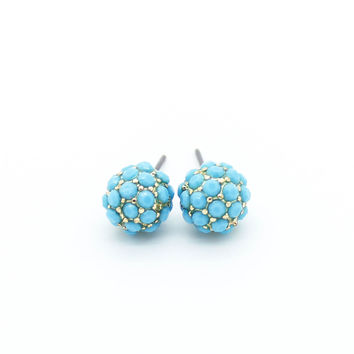 Pave ball earrings