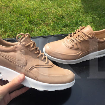 Tan Nike Thea Premium Leather custom. LIMITED STOCK.
