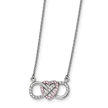 Sterling Silver Pink & White CZ Heart Infinity Symbol Necklace