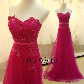 Free Shipping 2016 Hot Pink Strapless Romantic Formal Dresses Gowns Bridesmaid Frocks Long Party Full Dress RQ023