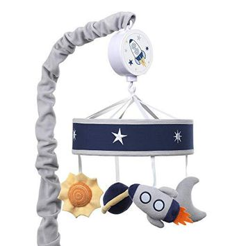 Lambs & Ivy Milky Way Blue/Gray Space with Rocket and Planets Baby Crib Musical Mobile