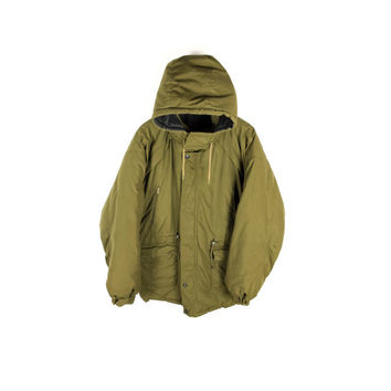 70s military parka - vintage 1970s - army green - outdoor jacket - puffy - oversized - baggy - detachable hood - mens L