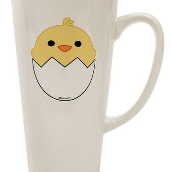 Cute Hatching Chick Design 16 Ounce Conical Latte Coffee Mug by TooLoud