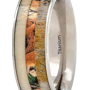 CERTIFIED 8mm Deer Antler Ring Camo Wood Inlay Titanium Mens Wedding Band