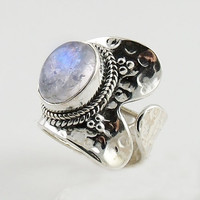 Moonstone Two Tone Spiral Sterling Silver Adjustable Ring