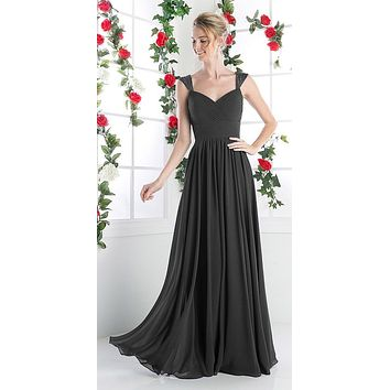 Beaded Cap Sleeves Sweetheart Bridesmaid Dress Black Chiffon