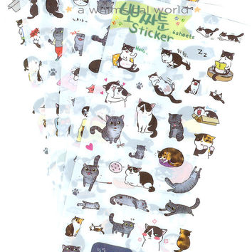 Ppozzatoon Cat Stickers - 6 pieces set | Crafting Ideas | Scrapbooking Materials | Gift Ideas