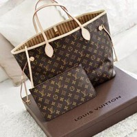 LV LV Louis Vuitton Women's Fashion Leather Bags Cosmetic Bags Two-piece F