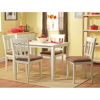 White 5 Piece Dining Table & Chairs Set