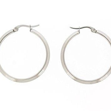 Ben and Jonah Stainless Steel Sharp Hoop Earring (30mm)
