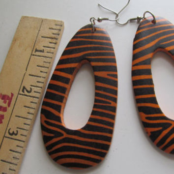 Tiger Print Large Dangle Earrings, Black and Orange Jewelry Orange and Black Jewelry