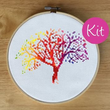 Colorful Tree Cross Stitch Kit, Rainbow Art Cross Stitch