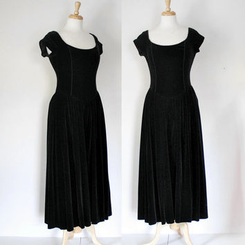 Vintage 80s Laura Ashley Black Velvet Maxi Dress