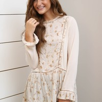 Natural Long Sleeve Peplum Top W/ Embroidered Detail