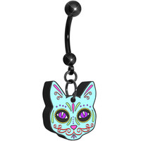 Cutout Blue Cat Sugar Skull Dangle Belly Ring | Body Candy Body Jewelry