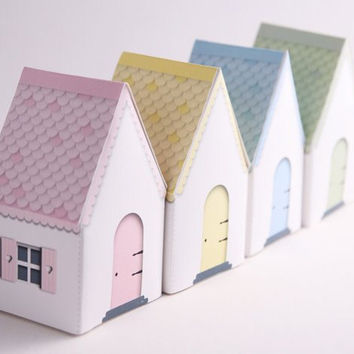 CANDY COTTAGES -  Printable DIY Gift Box Houses, Party Favors, Fairy House, Pastels - Pink, Blue, Green, Yellow, Instant Download